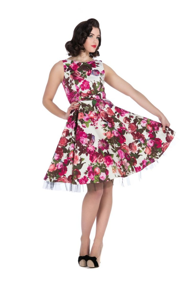 9347 White Rose Floral Georgia Dress