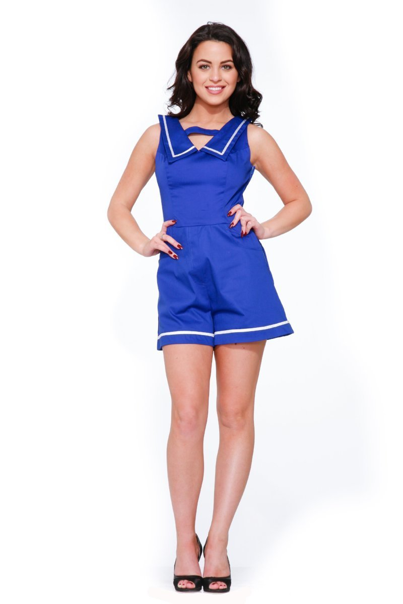 9966 Sailor Romper in Blue