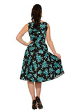 9975 China Doll Tea Dress in Black and Teal Floral