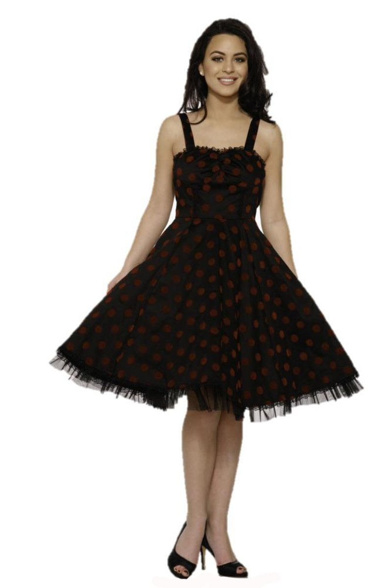 9978 Nikki Dress in Red Polka-dot
