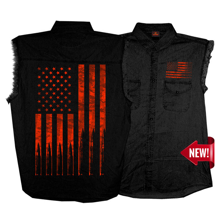 Men's Flag Bullets Sleeveless Denim Shirt
