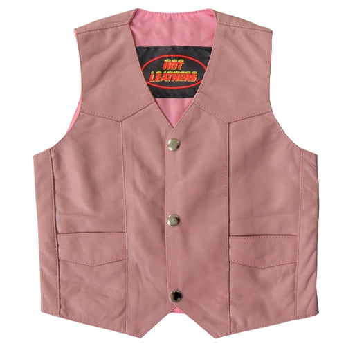 Toddler's Traditional Style Pink Leather Vest