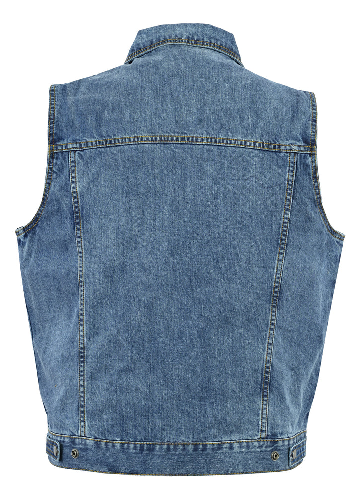 Men's Snap Front Blue Denim Concealment Vest w/ Shirt Style Collar