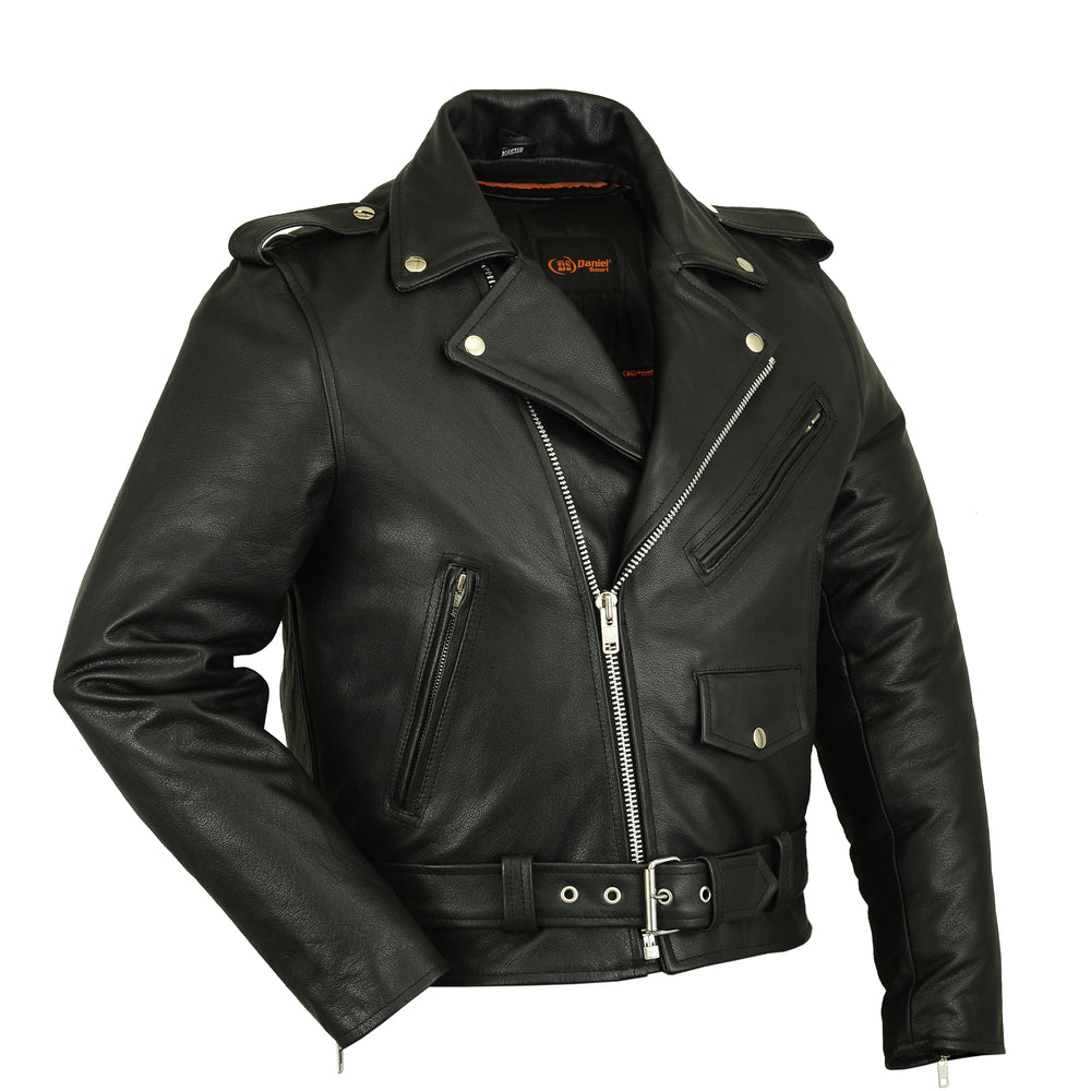 Men's Premium Classic Plain Side Police Style Leather Jacket
