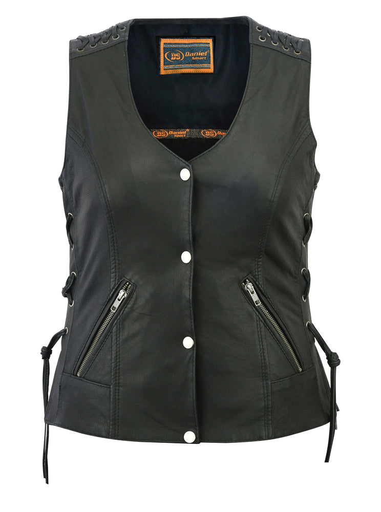 Women's Leather Vest w/ Grommets & Lacing