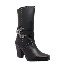 "Women's 12"" Studded Buckle Boot w/ Zipper"