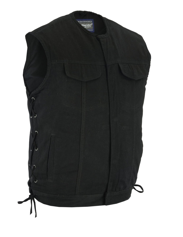 Men's Upgraded Style Gun Pockets Black Denim Vest w/ Blacked Out Hardware