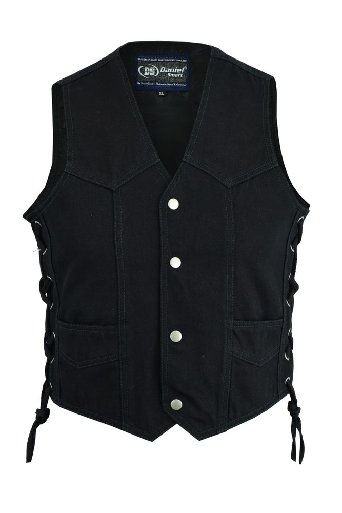 Kid's Traditional Style Lace Side Denim Vest