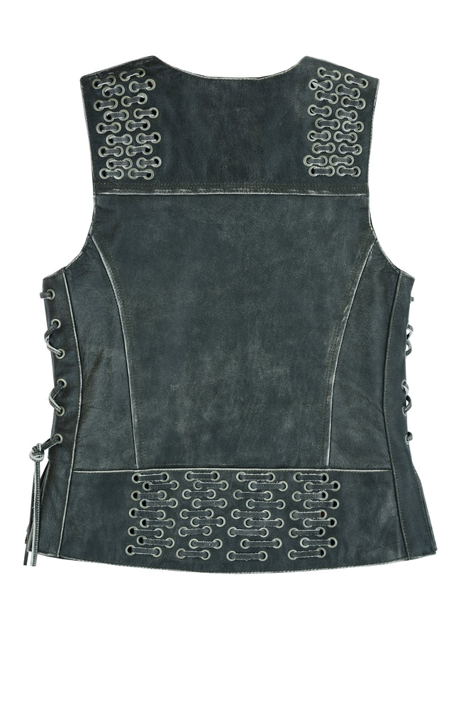 Women's Gray Leather Vest w/ Grommets & Lacing