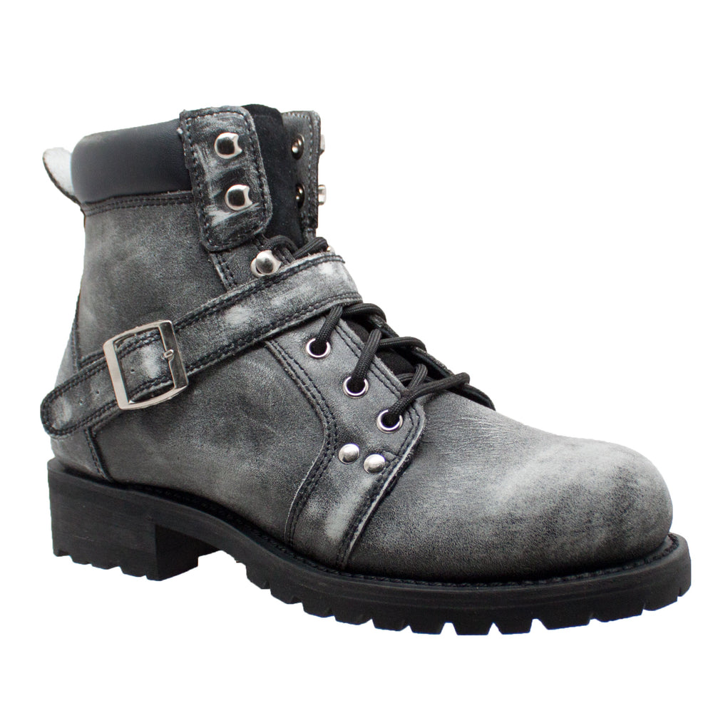 "Men's 6"" Lace & Zipper Stonewashed Boot w/ Buckle"