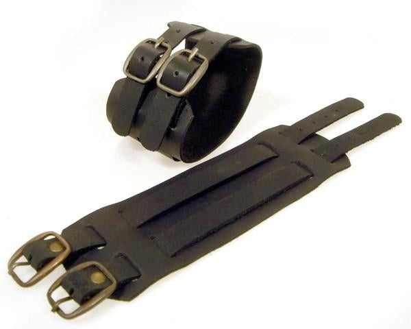 Black Buckle Leather Cuff Bracelet with Belt Buckle