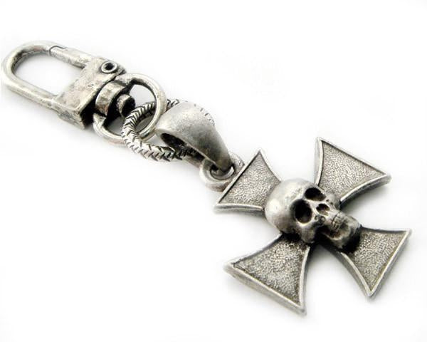 Skull Iron Cross Clip-On