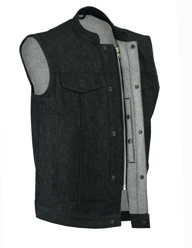 Men's Rough Rub-Off Raw Finish Denim Vest w/ Scoop Collar