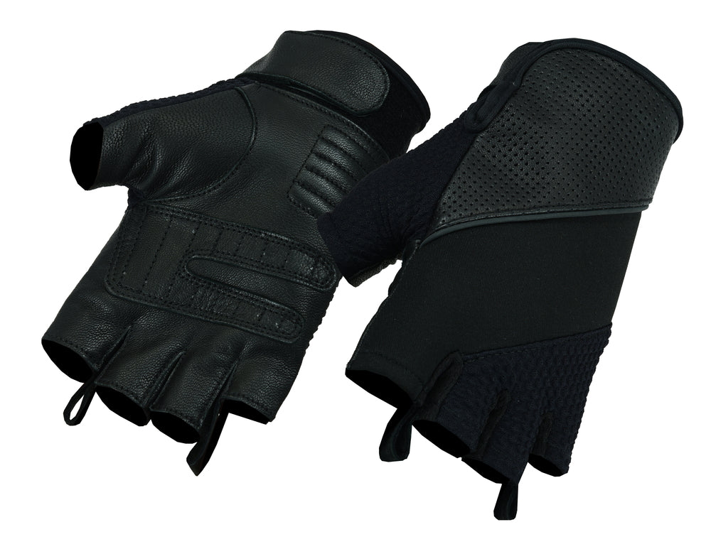 Men's Leather/Textile Fingerless Glove