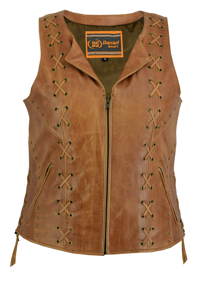 Women's Brown Leather Zipper Vest w/ Lacing Detail