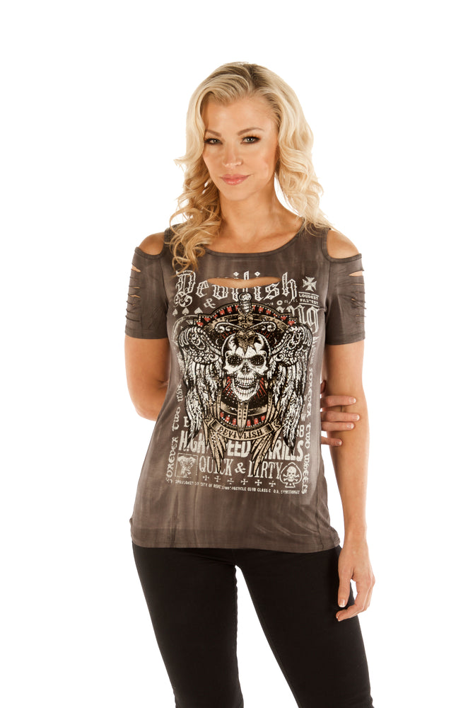 Women's Devilish Skull Cold Shoulder Shirt
