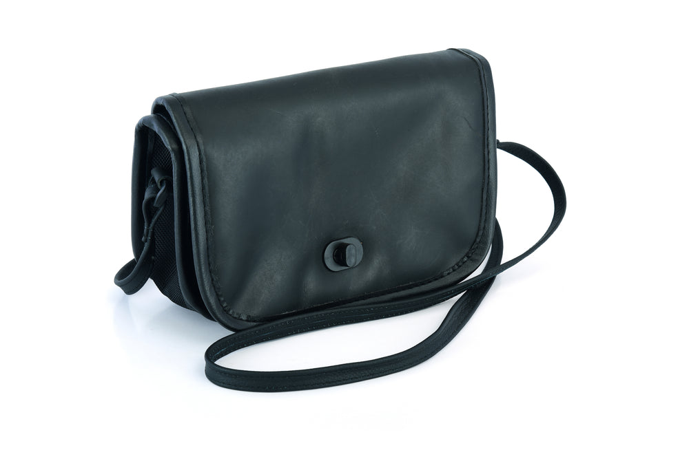 Women's Black Construction Leather Purse/Shoulder Bag