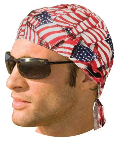 Headwrap w/ Liner - Tossed American Flag