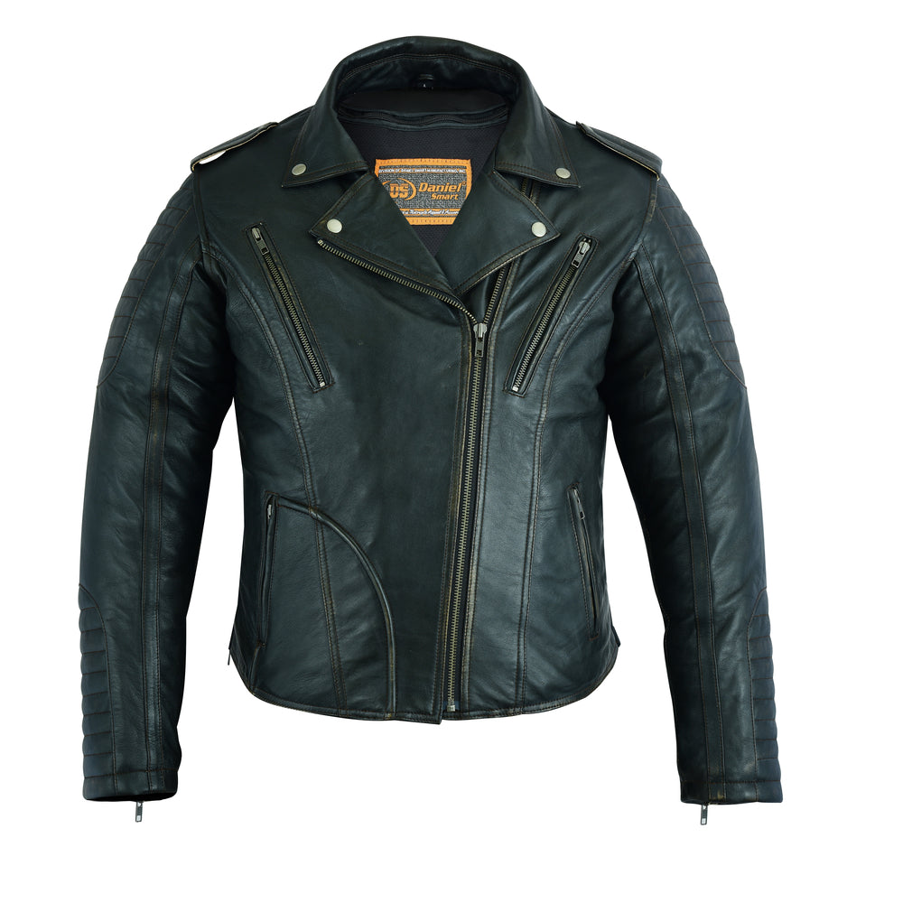 Women's Lightweight Drum Dyed Distressed Naked Lambskin M/C Jacket