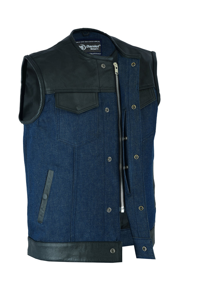 Men's Black Leather/Blue Denim Combo Vest