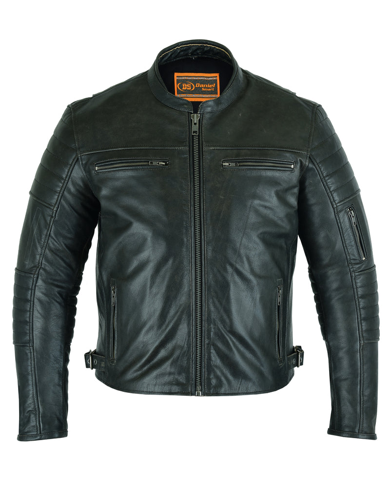 Men's Modern Crossover Gun Metal Brown Leather Scooter Jacket