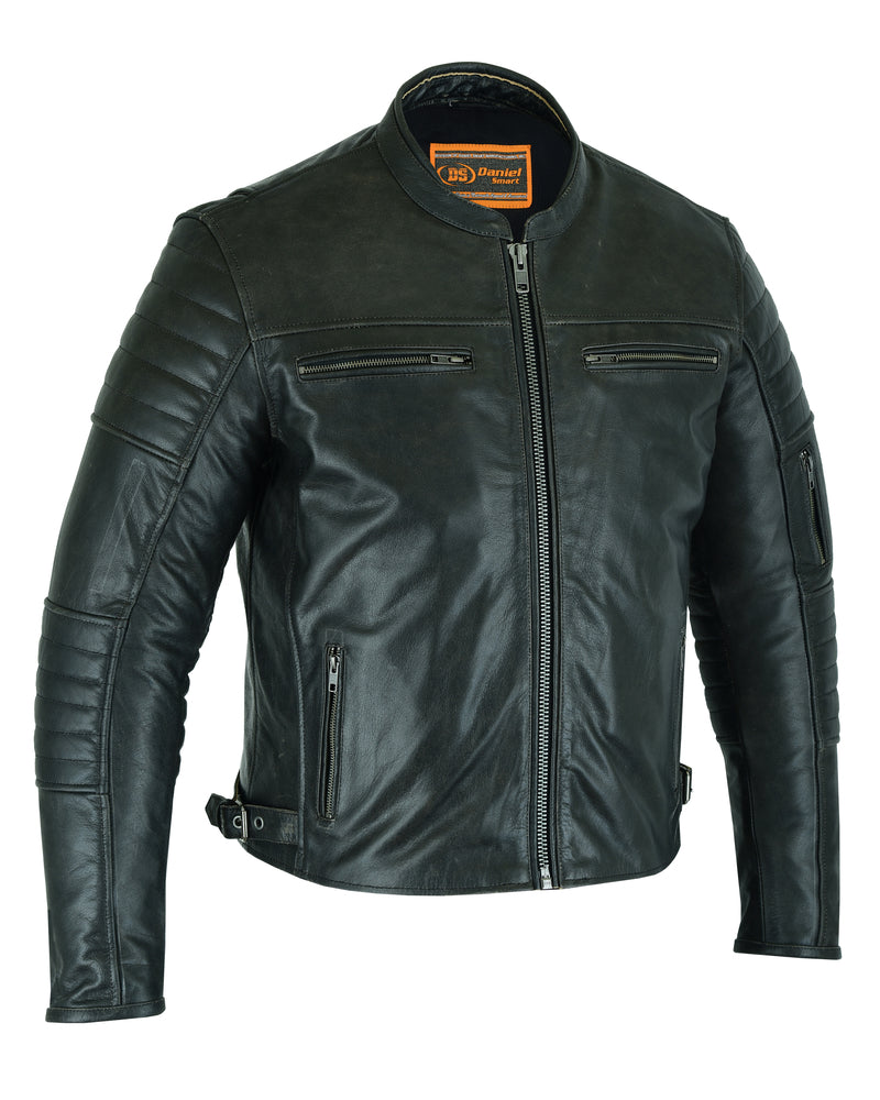 Men's Lightweight Drum Dyed Naked Lambskin Crossover Scooter Jacket