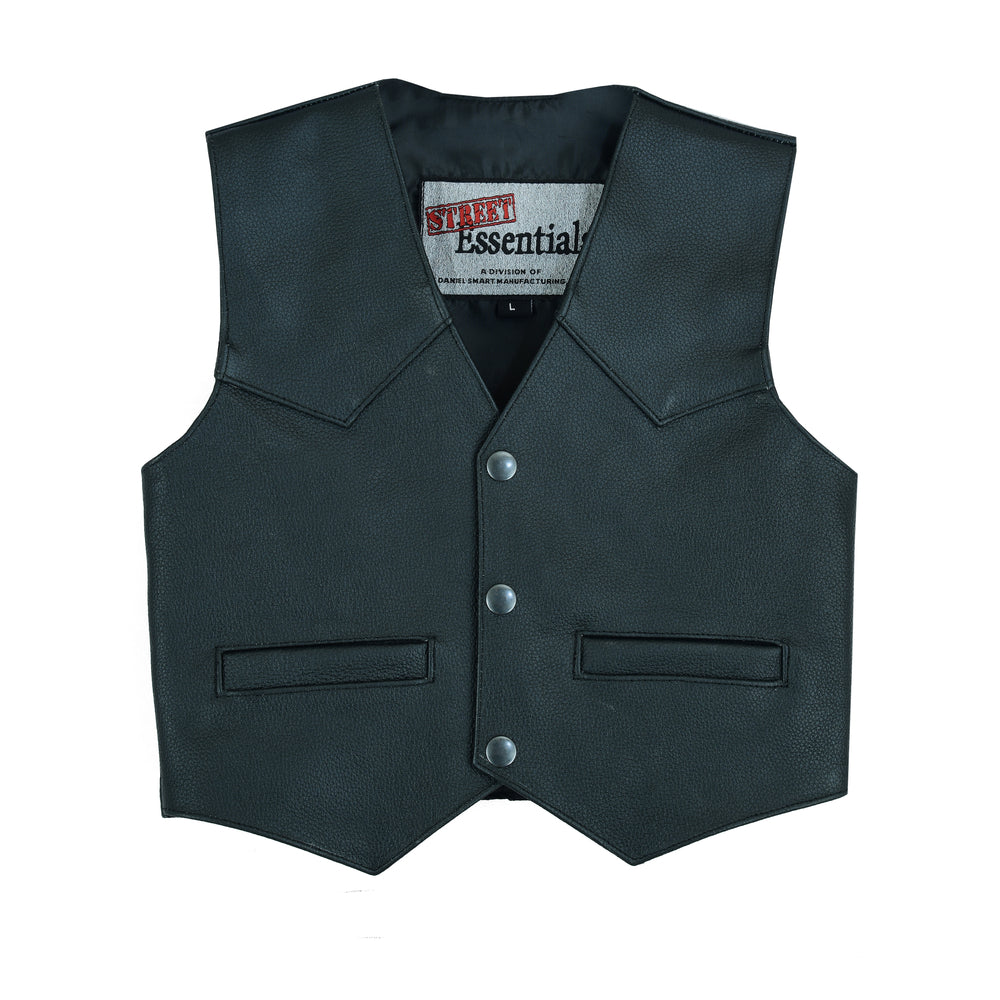Toddler's Traditional Style Plain Side Leather Vest