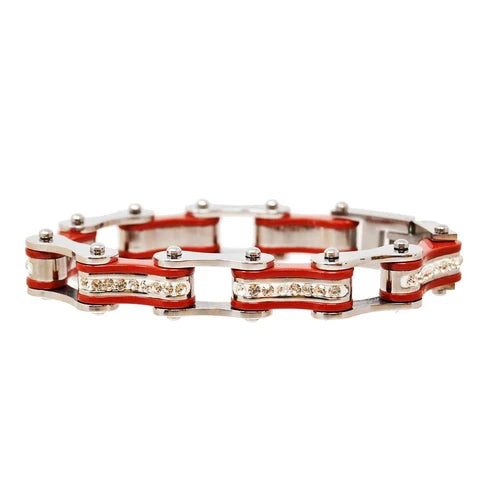 Silver & Red Bike Chain Bracelet w/ White Crystals