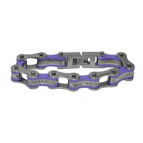 Silver & Purple Bike Chain Bracelet w/ White Crystals