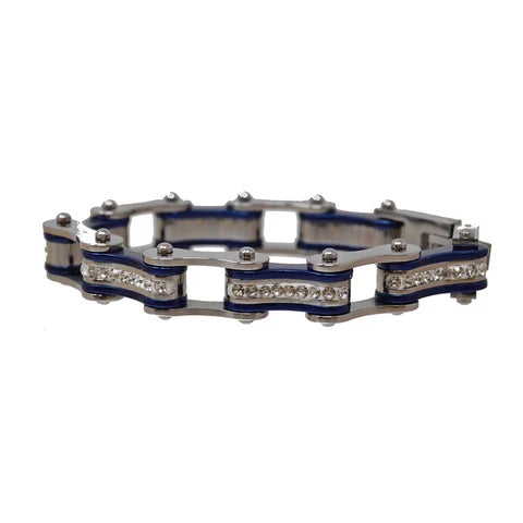 Silver & Candy Blue Bike Chain Bracelet w/ White Crystals