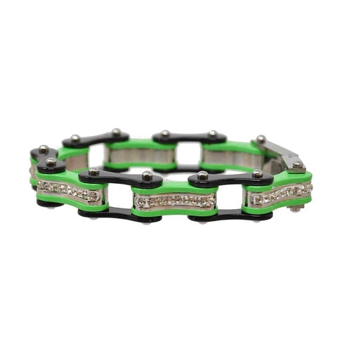 Black & Lime Green Bike Chain Bracelet w/ White Crystals