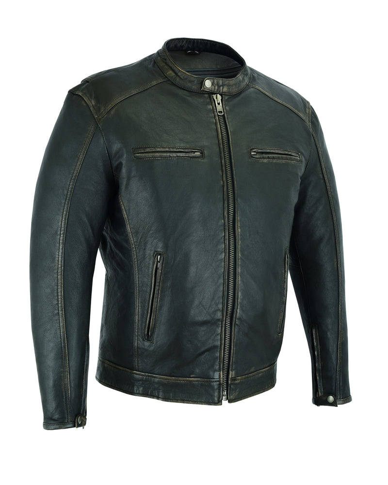 Men's Lightweight Drum Dyed Distressed Naked Lambskin Cruiser Jacket