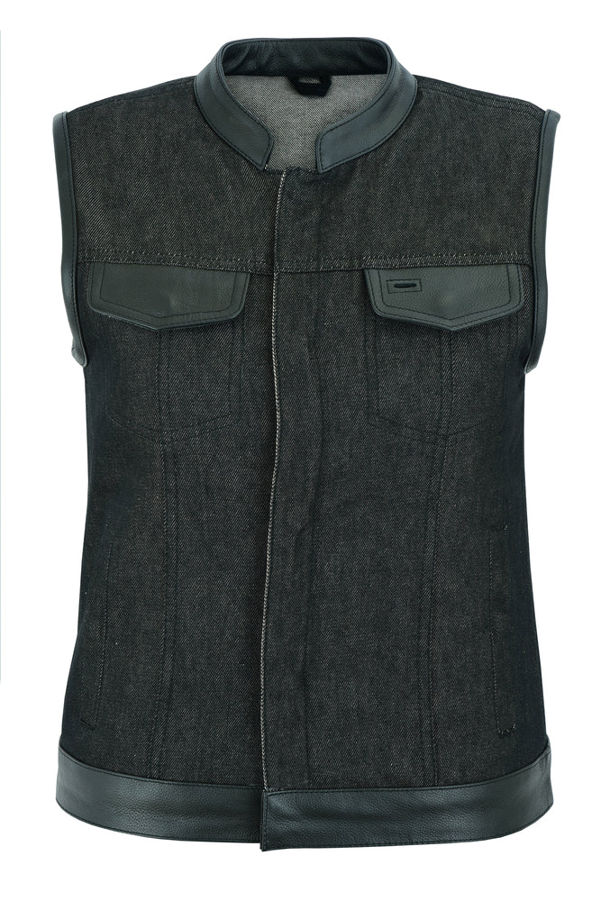 Women's Rough Rub-Off Raw Finish Denim Vest w/ Leather Trim