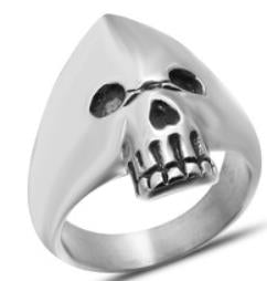 Stainless Steel Hooded Skull Biker Ring