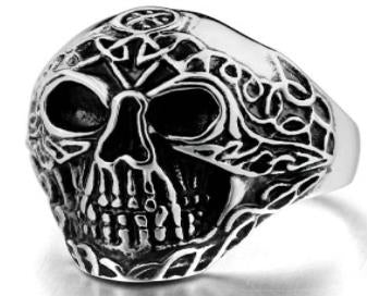 Stainless Steel Forward Face Skull Biker Ring
