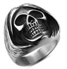 Stainless Steel Sleepy Head Skull Biker Ring