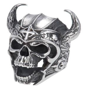 Stainless Steel Warrior Skull Biker Ring
