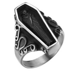 Stainless Steel Coffin Biker Ring
