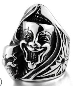 Stainless Steel Joker Face Skull Biker Ring