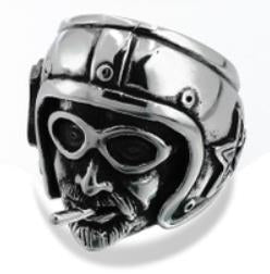 Stainless Steel Ride Pilot Biker Ring