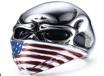 Stainless Steel Flag Face Biker Ring