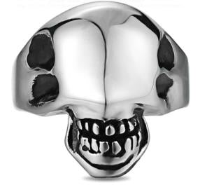 Stainless Steel Alien Face Biker Ring