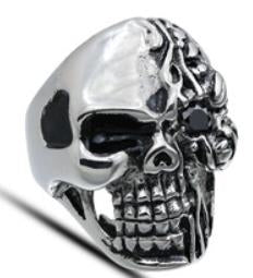 Stainless Steel Half Face Biker Ring