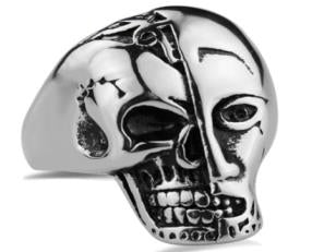 Stainless Steel Terminator Skull Face Biker Ring
