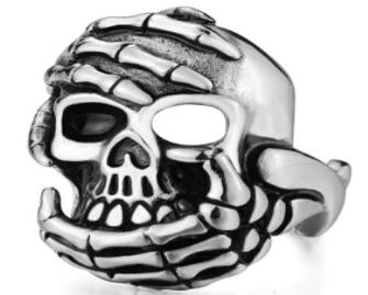 Stainless Steel Hand Held Skull Biker Ring