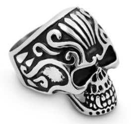 Stainless Steel Crown Head Biker Ring