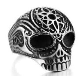 Stainless Steel Flower Cane Skull Biker Ring