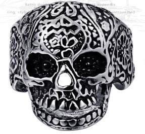 Stainless Steel Medium Sugar Cane Skull Face Biker Ring