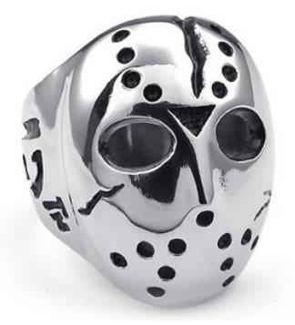 Stainless Steel Jason Face Biker Ring