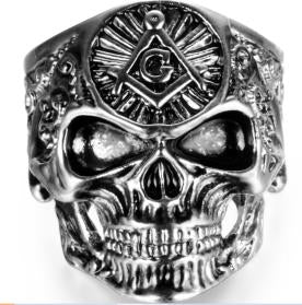 Stainless Steel Large All Seeing Eye Biker Ring